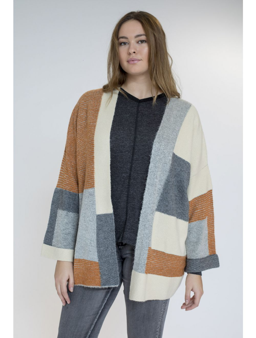 CHAQUETA TRICOT COLOR  BLOCK