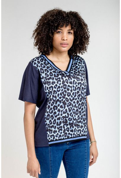 CAMISETA PRINT ANIMAL AZUL